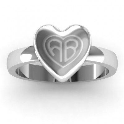 Silver Large Engraved Monogram Heart Ring - Custom Jewellery By All Uniqueness