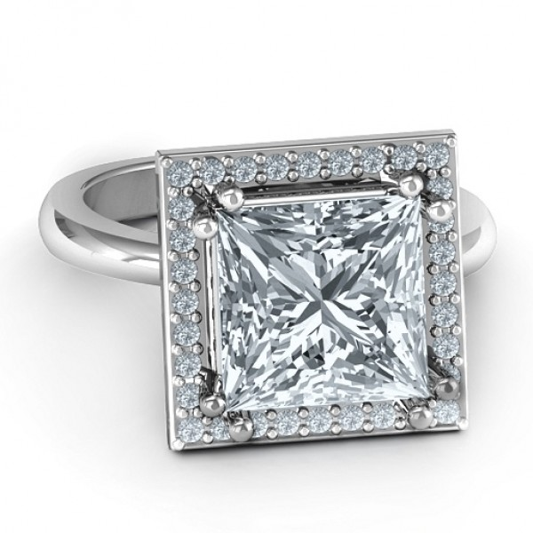 Silver Princess Cut Cocktail Ring with Halo - Custom Jewellery By All Uniqueness