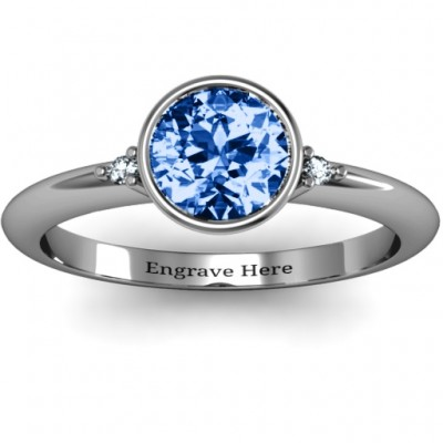 Silver Round Bezel Solitaire with Twin Accents Ring - Custom Jewellery By All Uniqueness