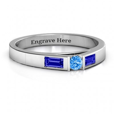 Silver Solitaire Bridge Ring with Baguette Accents - Custom Jewellery By All Uniqueness
