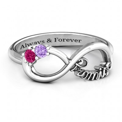 Silver Two Stone Promise Infinity Ring - Custom Jewellery By All Uniqueness
