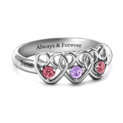 Three s Company Triple Heart Gemstone Ring - Custom Jewellery By All Uniqueness