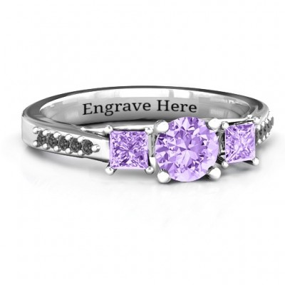 Three Stone Eternity Ring with Twin Accent Rows - Custom Jewellery By All Uniqueness