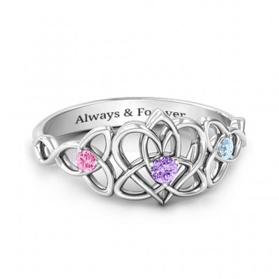 Triple Trinity Celtic Heart Ring - Custom Jewellery By All Uniqueness