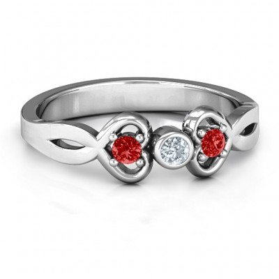 Twin Hearts with Centre Bezel Ring - Custom Jewellery By All Uniqueness