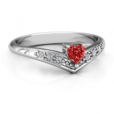 V-Accented Heart Ring - Custom Jewellery By All Uniqueness