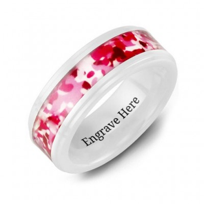 White Ceramic Ring with Colorful Camouflage Centrepiece - Custom Jewellery By All Uniqueness