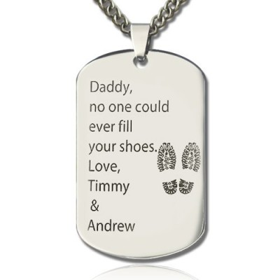 Father Day Gift Dog Tag Name Necklace - Custom Jewellery By All Uniqueness