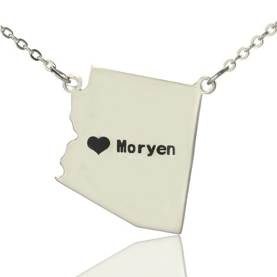 Custom Arizona State Shaped Necklaces With Heart Name Silver - Custom Jewellery By All Uniqueness