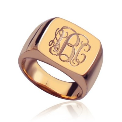 Square Script Monogram Initial Ring Rose Gold - Custom Jewellery By All Uniqueness