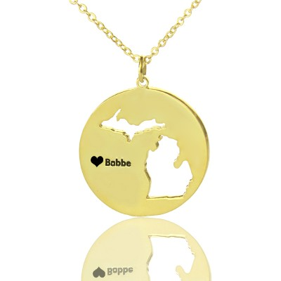 Custom Michigan Disc State Necklaces With Heart Name Gold Plated - Custom Jewellery By All Uniqueness