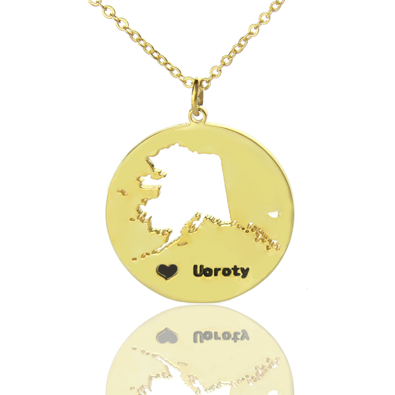 Custom alaska disc state necklaces with heart name gold plated custom alaska disc state necklaces with heart name gold plated custom jewellery by all uniqueness aloadofball Images