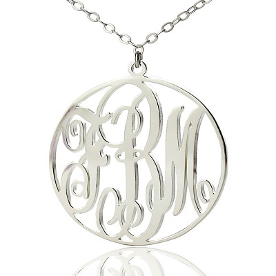 Necklace Fancy Circle Monogram Necklace Silver - Custom Jewellery By All Uniqueness
