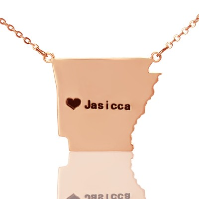 Custom AR State USA Map Necklace With Heart Name Rose Gold - Custom Jewellery By All Uniqueness