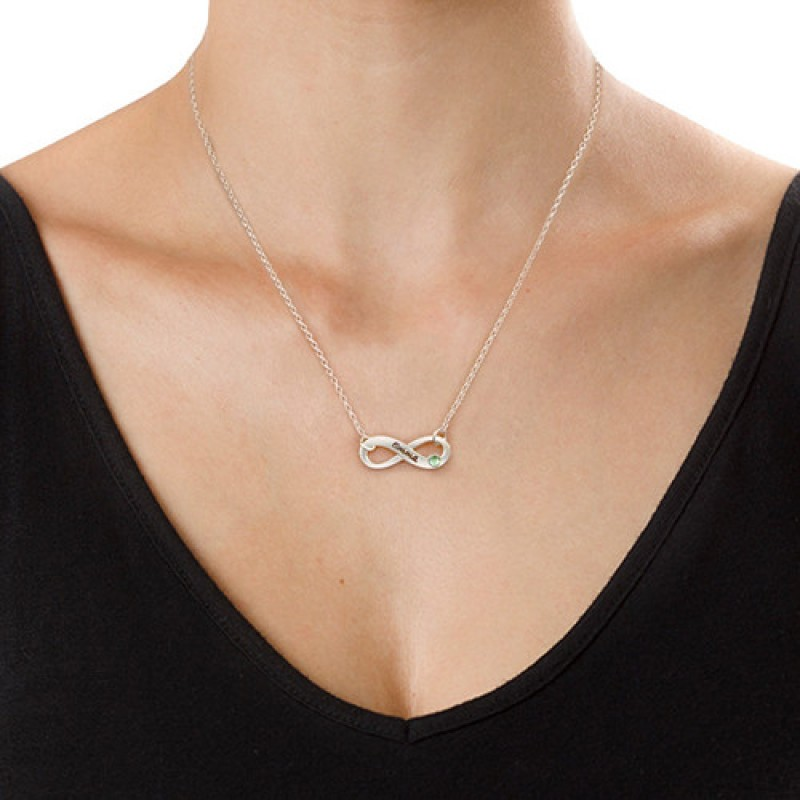 infinity two silver personalised with sterling names necklace name