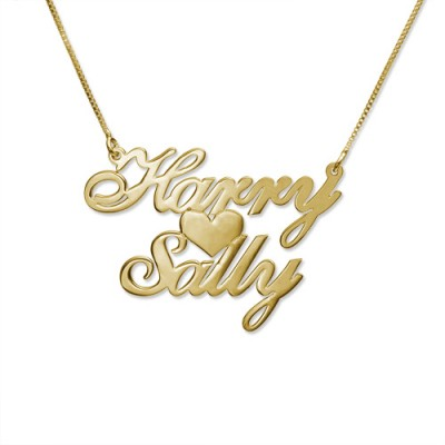 Gold or Silver Two Name Love Necklace - Custom Jewellery By All Uniqueness