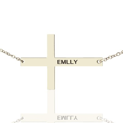 """Engraved Silver Latin Cross Name Necklace 1.6"""" - Custom Jewellery By All Uniqueness"""