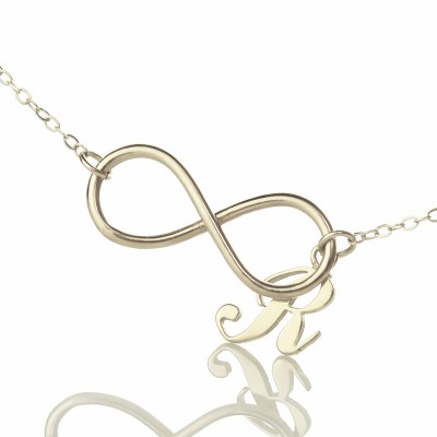 Infinity Necklaces with Initial Letter Charm Silver - Custom Jewellery By All Uniqueness