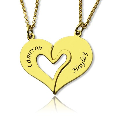 c5bf046073 Double Name Heart Friend Necklace Couple Necklace Set Gold Plated - Custom  Jewellery By All Uniqueness