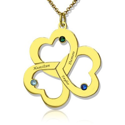 Birthstone Triple Heart Necklace Engraved Name in Gold Plated - Custom Jewellery By All Uniqueness