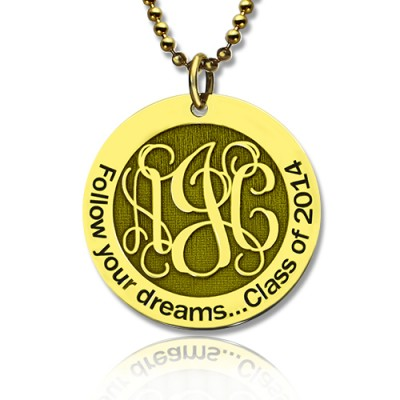 Follow Your Dreams Disc Monogram Necklace Gold Plated - Custom Jewellery By All Uniqueness