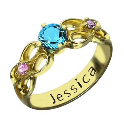 Birthstone Infinity Promise Ring With Name Gold Plated - Custom Jewellery By All Uniqueness