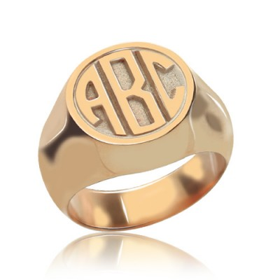 Circle Signet Ring with Block Monogram Rose Gold - Custom Jewellery By All Uniqueness