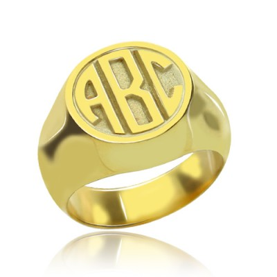 Customised Signet Ring with Block Monogram Gold Plated - Custom Jewellery By All Uniqueness