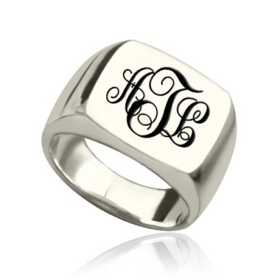 Signet Ring Silver with Monogram - Custom Jewellery By All Uniqueness