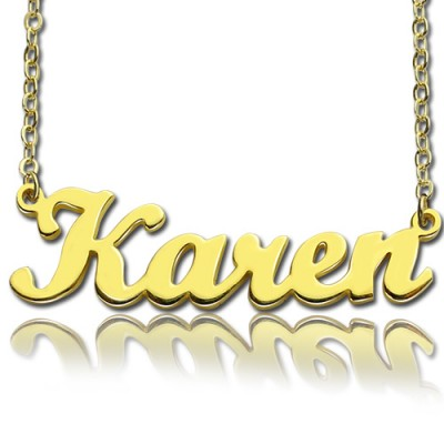 Gold Plated 925 Silver Karen Style Name Necklace - Custom Jewellery By All Uniqueness