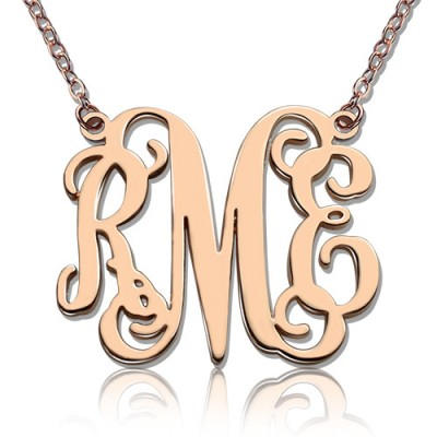 Custom Rose Gold Plated Monogram Initial Necklace - Custom Jewellery By All Uniqueness