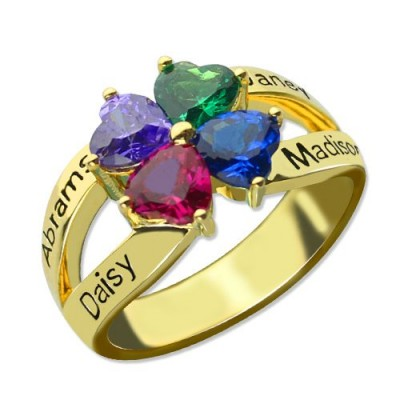 Family Ring for Mom Four Clover Hearts in Gold Plated - Custom Jewellery By All Uniqueness