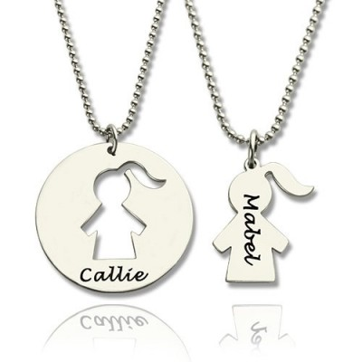 Mother Daughter Necklace Set Engraved Name Silver - Custom Jewellery By All Uniqueness
