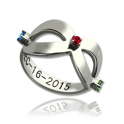 Infinity Birthstones Ring Engraved Date Silver - Custom Jewellery By All Uniqueness