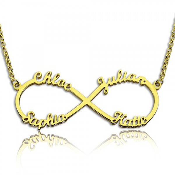 Custom Gold Plated Infinity Necklace 4 Names - Custom Jewellery By All  Uniqueness 9ed0f3b68