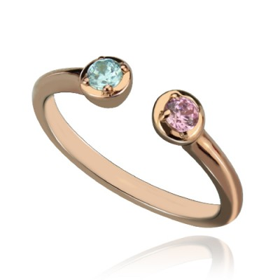 Dual Birthstone Ring Rose Gold Plated Silver - Custom Jewellery By All Uniqueness