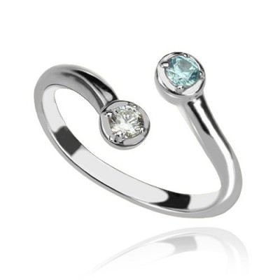Dual Drops Birthstone Ring In Silver - Custom Jewellery By All Uniqueness