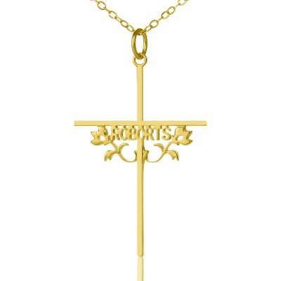 Gold Plated 952 Silver Cross Name Necklaces with Rose - Custom Jewellery By All Uniqueness