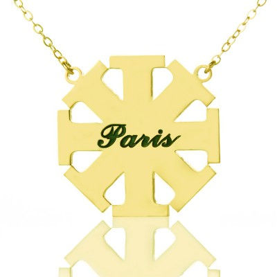 Customised Cross Necklace with Name Gold Plated 925 Silver - Custom Jewellery By All Uniqueness