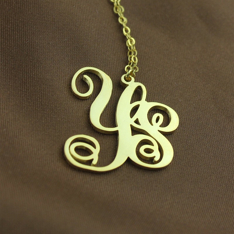 4418955d604ad Gold Plated Vine Font 2 Initial Monogram Necklace - Custom Jewellery ...
