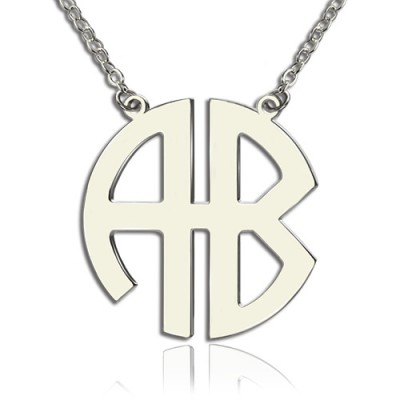 Personailzed Silver Two Initial Block Monogram Pendant - Custom Jewellery By All Uniqueness