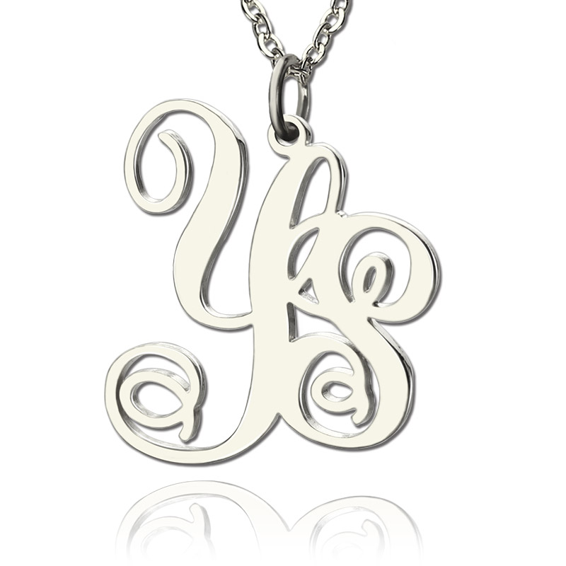 a76893d28e688 Solid White Gold Vine Font 2 Initial Monogram Necklace - Custom Jewellery  By All Uniqueness