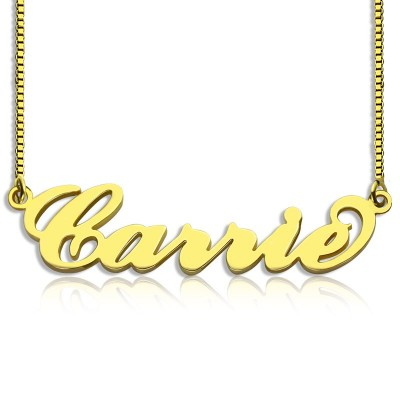 Gold Plated Sex and The City Carrie Name Necklace Box Chain - Custom Jewellery By All Uniqueness