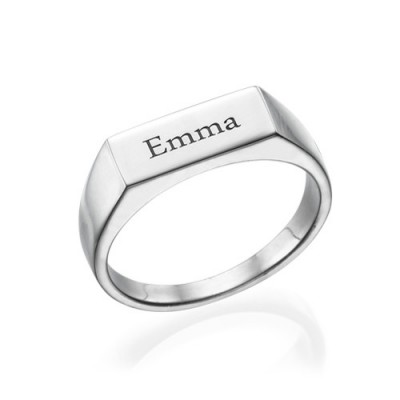 e1450428a1 Engraved Signet Ring in Silver - Custom Jewellery By All Uniqueness