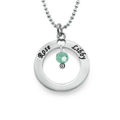 Engraved Classic Circle Necklace with Birthstones - Custom Jewellery By All Uniqueness