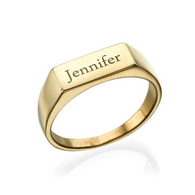 Gold Plated Engraved Signet Ring - Custom Jewellery By All Uniqueness