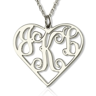 Silver Initial Monogram Heart Necklace - Custom Jewellery By All Uniqueness