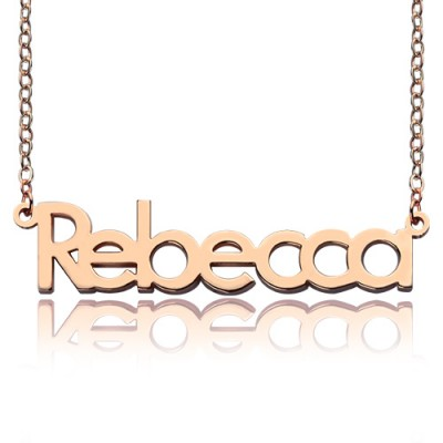Rose Gold Plated Rebecca Style Name Necklace - Custom Jewellery By All Uniqueness