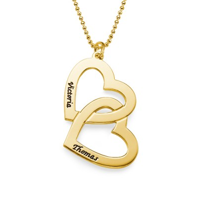 Gold Plated Heart in Heart Necklace - Custom Jewellery By All Uniqueness