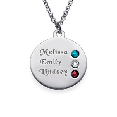 Silver Birthstone Necklace for Mum Inscriptions (1-3) - Custom Jewellery By All Uniqueness
